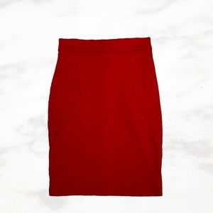 ICÔNE Structured Red Pencil Skirt